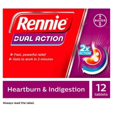 Rennie Dual Action Heartburn and Indigestion Chewable Tablets 12 Pack