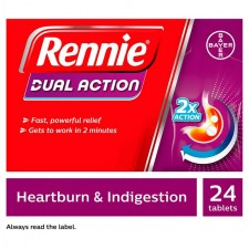 Rennie Dual Action Heartburn and Indigestion Chewable Tablets 24 Pack