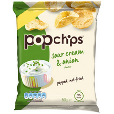 Retail Pack Popchips Sour Cream and Onion Popped Potato Chips 16 x 50g