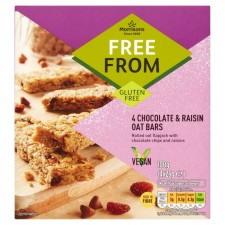 Morrisons Free From Chocolate and Raisin Oat Bar 4 x 25g