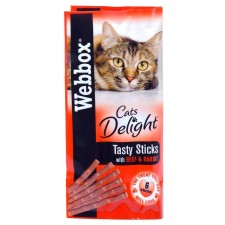 Webbox Cats Delight 6 Tasty Sticks with Beef and Rabbit 30g