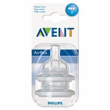 Avent Silicone Teats Medium Flow x2