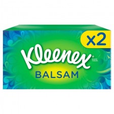 Kleenex Balsam Regular White Tissues Twin Pack 2 x 64 per pack