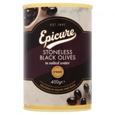 Epicure Stoneless Black Olives 400g