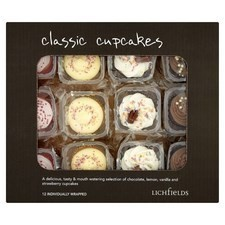 Catering Pack Lichfields Assorted Classic Cup Cakes x12 Individually Wrapped