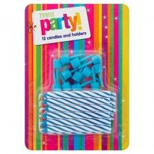Tesco Blue Candy Stripe 12 Candles And Holder
